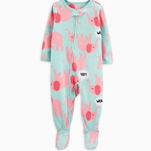 NWT Fleece Pink Elephant Blanket Sleeper